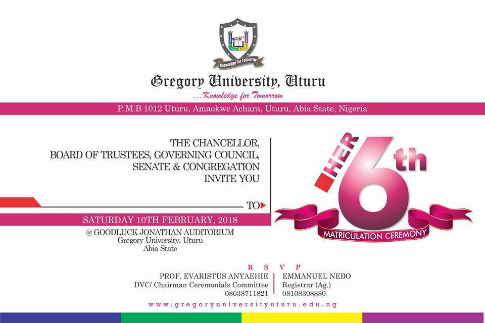 Gregory University Matriculation Invitation
