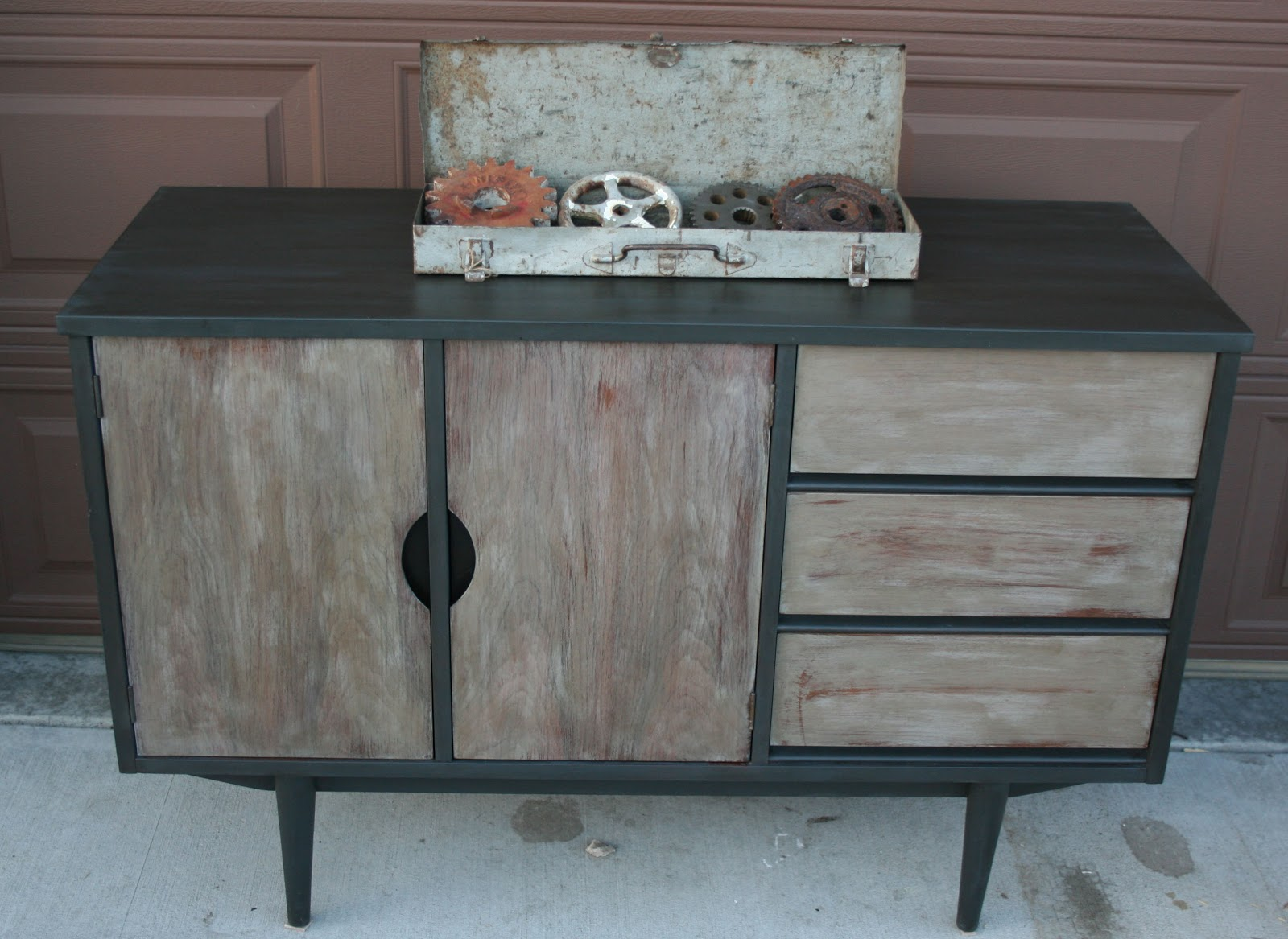 Antique Recreation Retro Buffet In Graphite And French