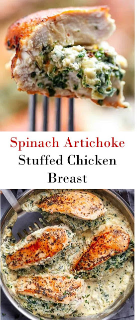 Spinach Artichoke Stuffed Chicken Breast #Spinach #Artichoke #Stuffed #ChickenBreast #SpinachArtichokeStuffedChickenBreast