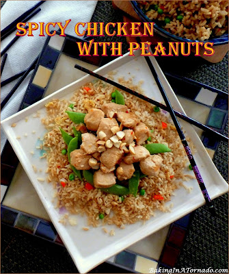 Spicy Chicken with Peanuts cooks in one pan in about half an hour and dinner is served! | Recipe developed by www.BakingInATornado.com | #recipe #dinner