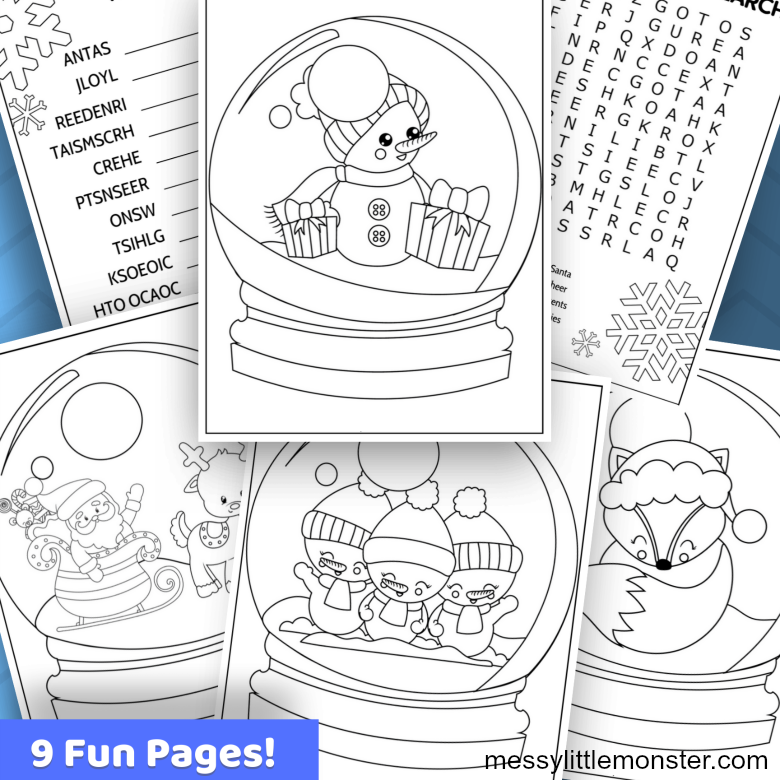 printable snow globe colouring pages