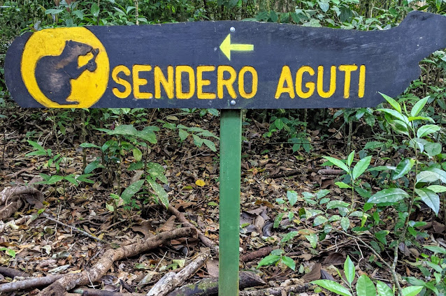 Costa Rica Itinerary: Trail signage in Aguti Nature Reserve