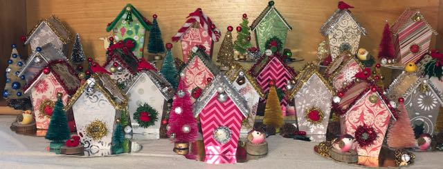 Cardboard birdhouse ornaments