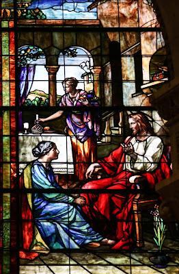 Imagem de Jesus Cristo com Marta e Maria, vitral