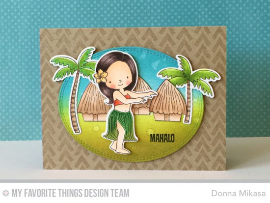 Handmade card from Donna Mikasa featuring Tiki Party and Birdie Brown Polynesian Paradise stamp sets and Die-namics, Wonky Chevron Background stamp, and Double Stitched Oval STAX Die-namics #mftstamps