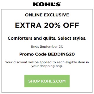 Kohls coupon 20% OFF comforters and quilts 2016