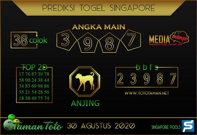 Prediksi Togel SINGAPORE TAMAN TOTO 30 AGUSTUS 2020