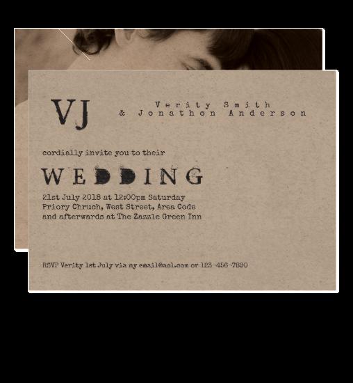 vintage typeset inked wedding invitation photo