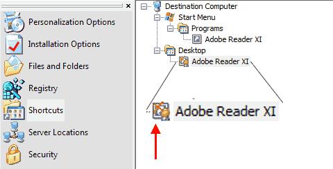 Adobe Customization Wizard XI - Elimina collegamento