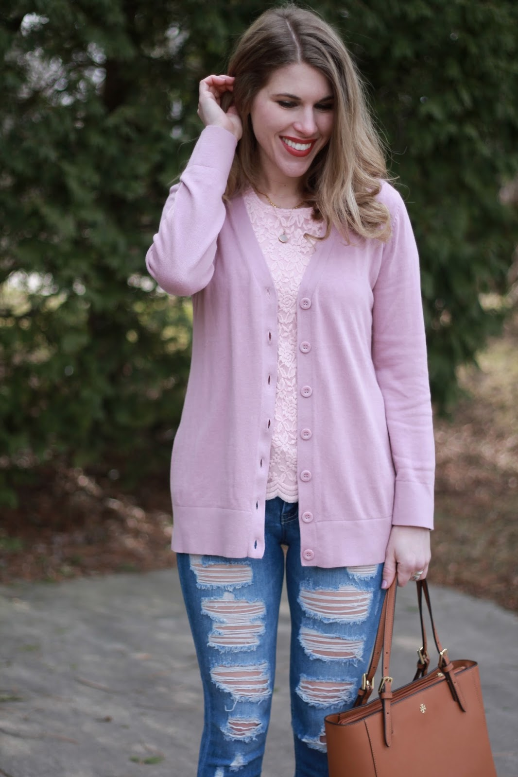 Blush lace top, pink cardigan, distressed jeans, blush heels for spring