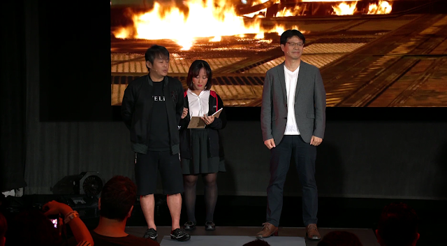 Tetsuya Nomura Final Fantasy VII director wearing shorts Square Enix E3 2019