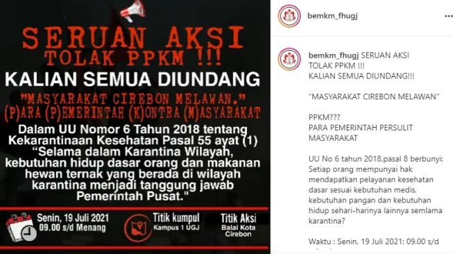 Buntut PPKM Diperpanjang, Muncul Ajakan Rakyat Cirebon Turun ke Jalan