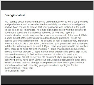 warning email from linkedin, telling of the data breach