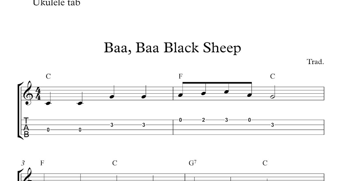 Baa Baa Black Sheep Free Easy Ukulele Tab Sheet Music