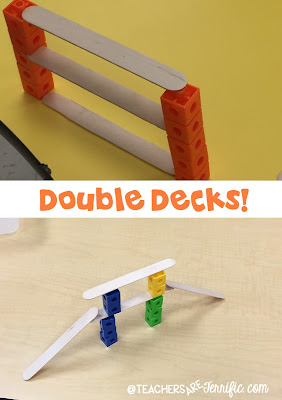 First Grade STEM: Some kids wanted a double-decker bridge with stacking roadways. The bridge in the top photo shows what kids did often. They pulled apart the cubes and slid the craft stick between cubes to hold it in place. Check this blog post for more!