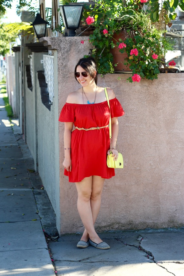 2205d1fccdafa LunaVida  Red-dy To Go  Off-The-Shoulder Dress + Espadrille Flats + ...