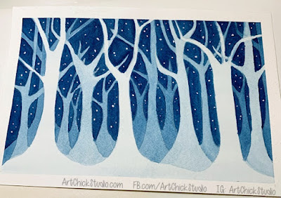 Moody Blue Trees Negative Painting