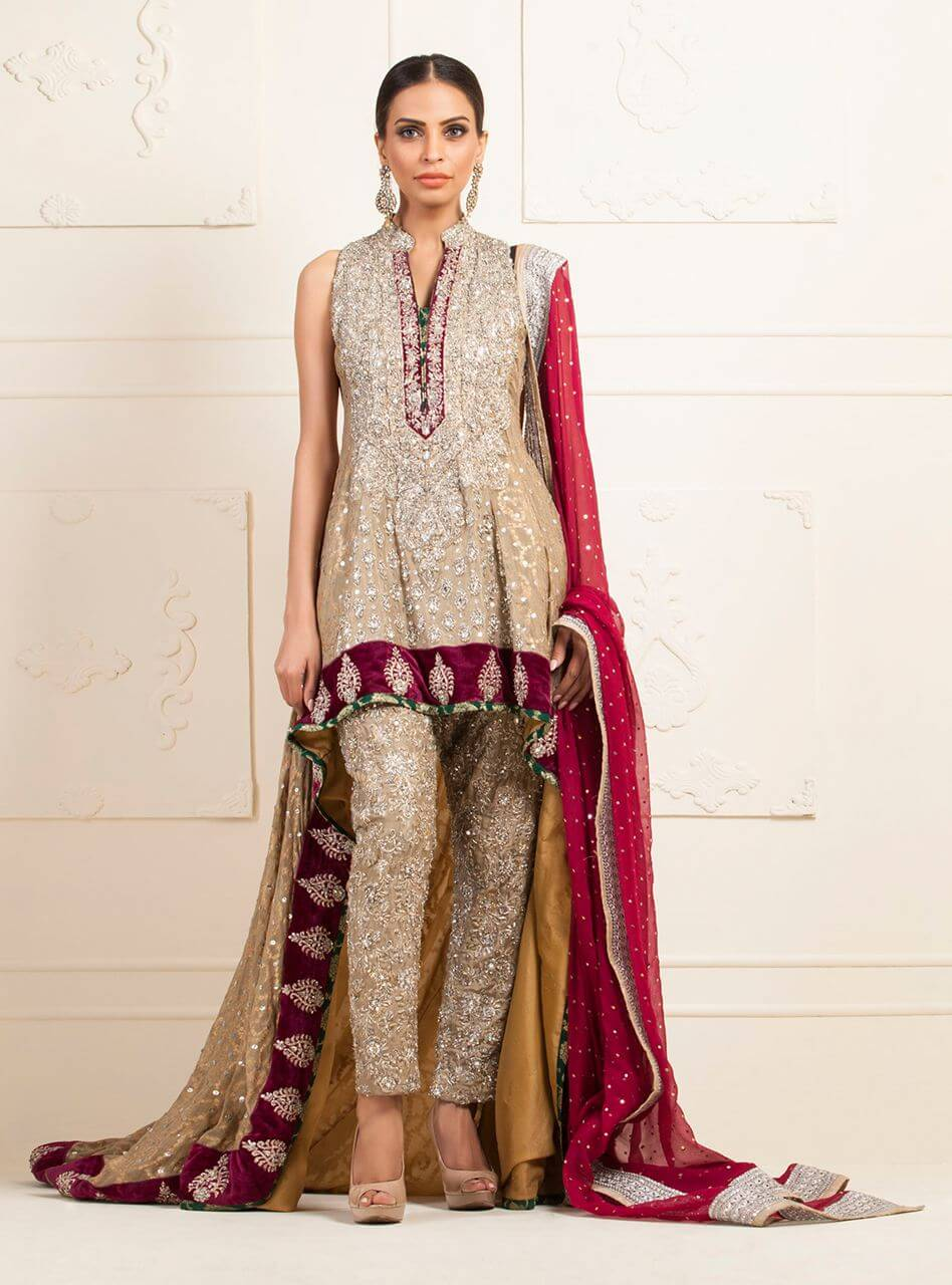 Beige Chiffon Jamwar Pakistani Mehndi Wedding Dresses by Zainab Chottani