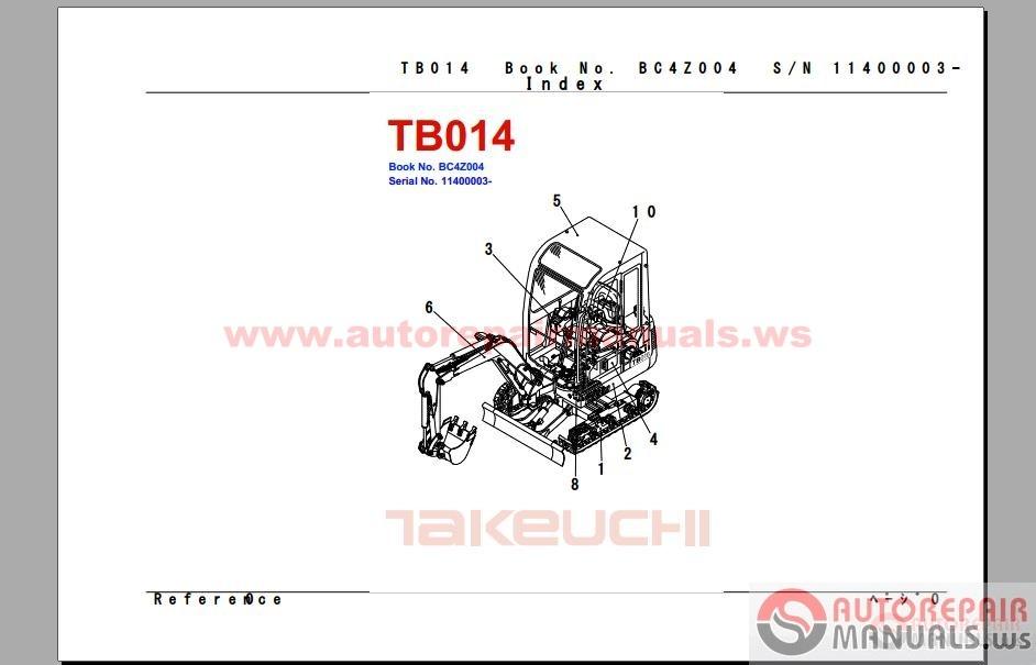 free auto repair manual takeuchi parts manual 10 2014. Black Bedroom Furniture Sets. Home Design Ideas