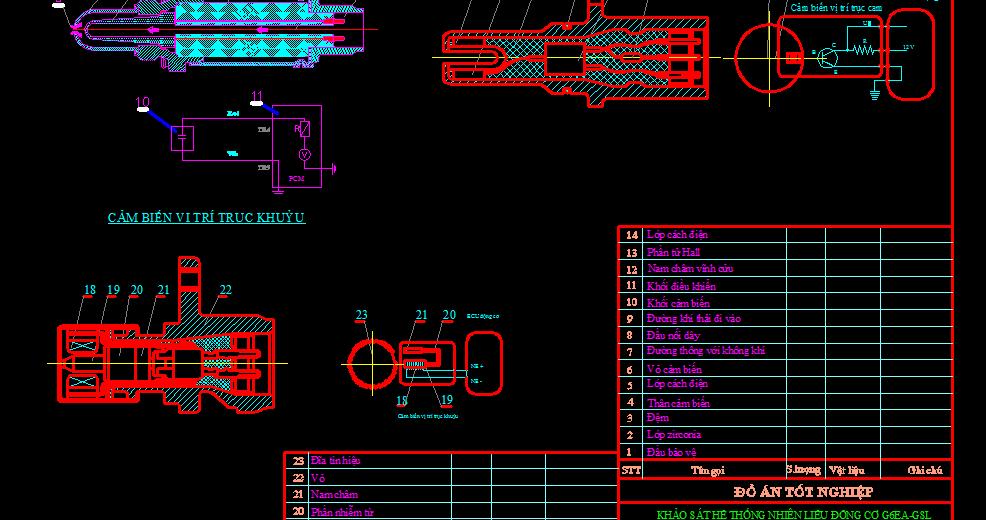 Kết cấu dây và sơ đồ đấu dây các cảm biến