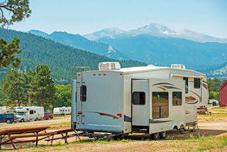 RV next to a picnic table