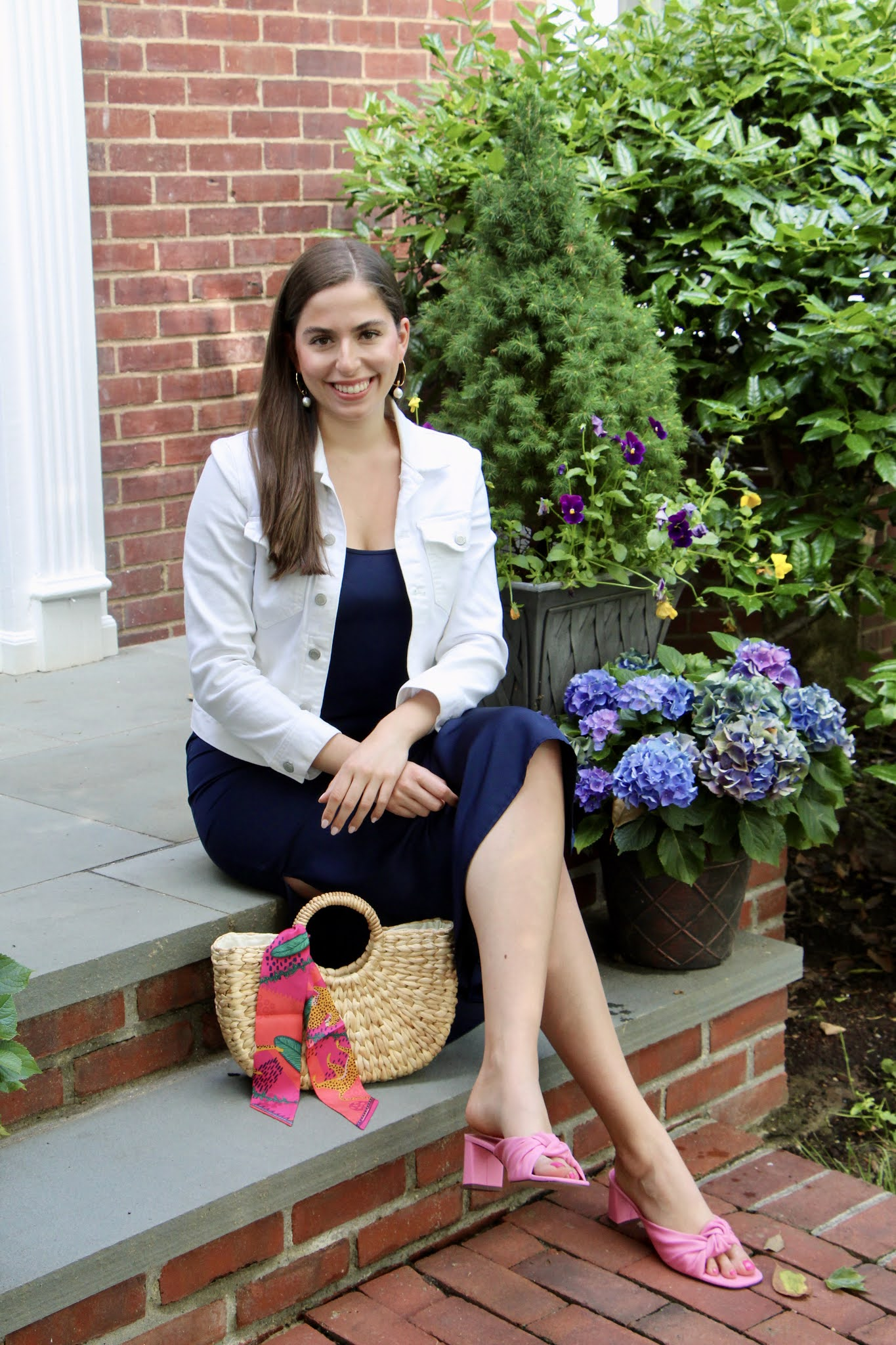 Straw tote, straw tote bag, pink shoes, white denim jacket, slip dress, navy slip dress