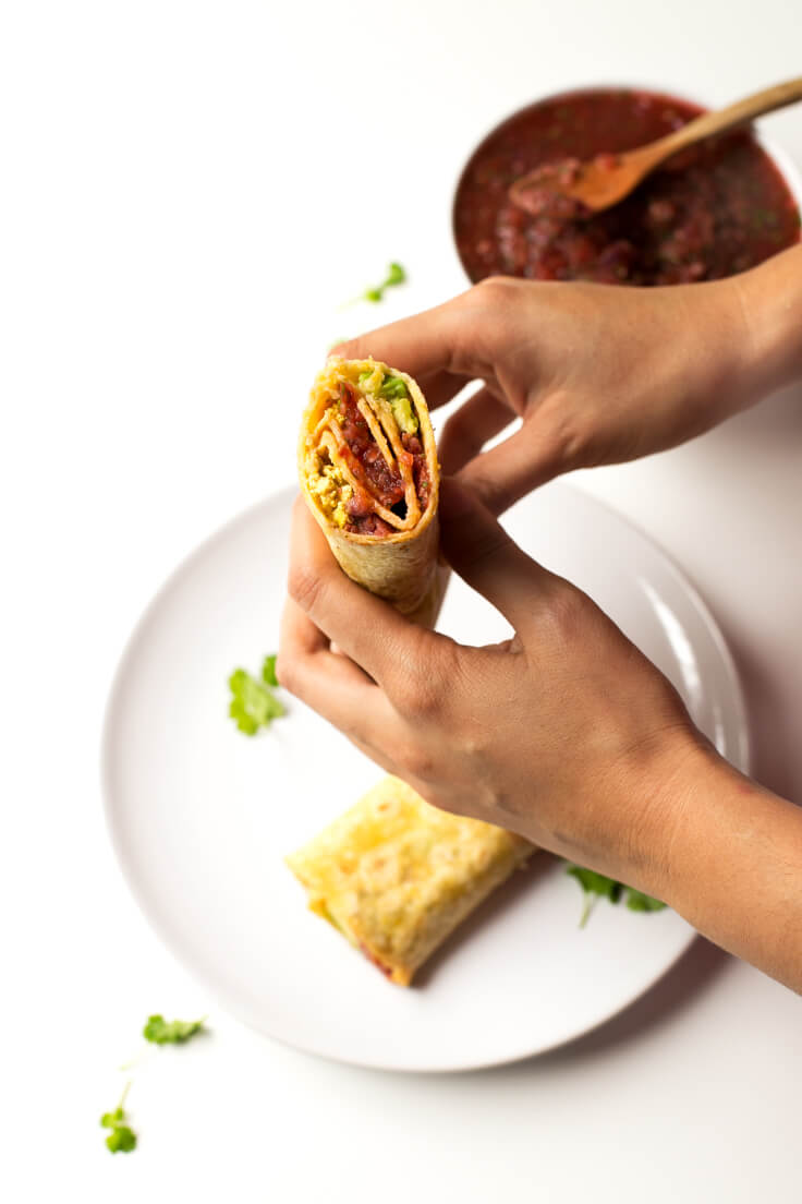 Vegan burritos with sauce - when you give the first bite to these vegan burritos, you feel an explosion of flavour in your mouth. You can throw almost any ingredient.