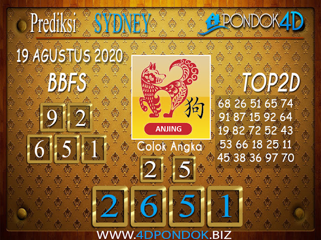 Prediksi Togel SYDNEY PONDOK4D 19 AGUSTUS 2020