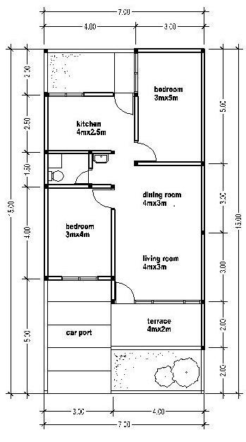 House Plans 7x15 House Affair
