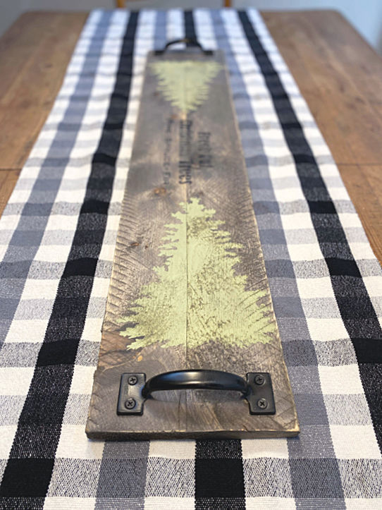 Wooden table runner on a buffalo checked table cloth