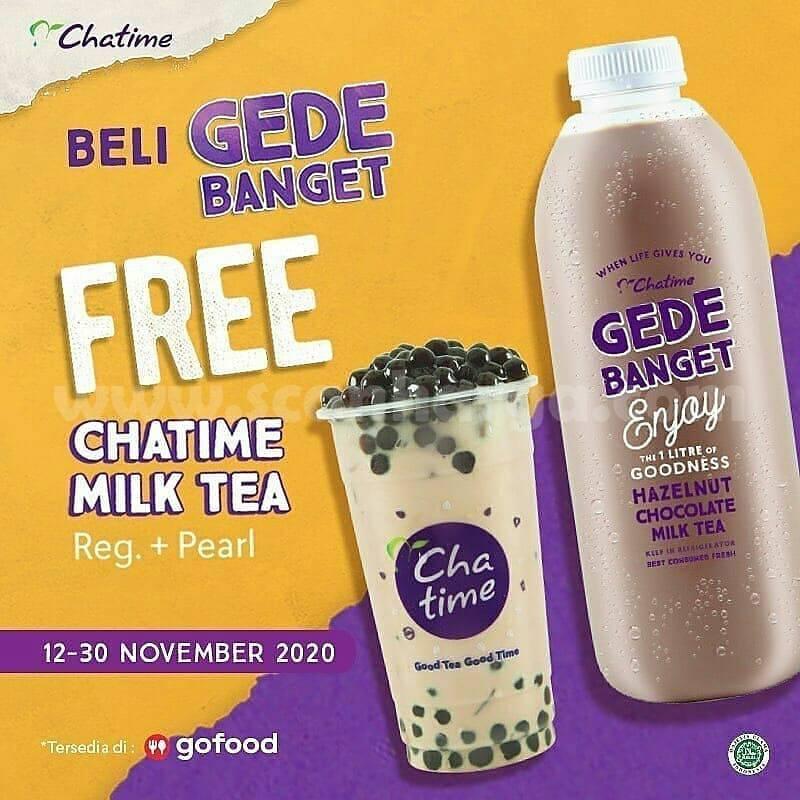 Promo Chatime: Beli GEDE BANGET Gratis Milk Tea Reg. + Pearl