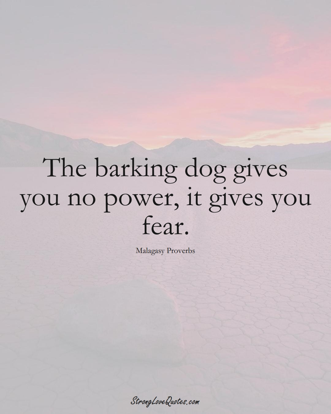 The barking dog gives you no power, it gives you fear. (Malagasy Sayings);  #AfricanSayings