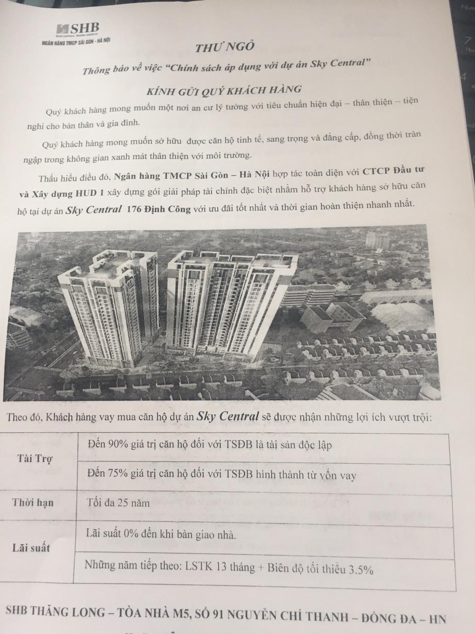 Chính sách vay vốn dự kiến SHB chi nhánh Thăng Long cho dự án 176 Định Công
