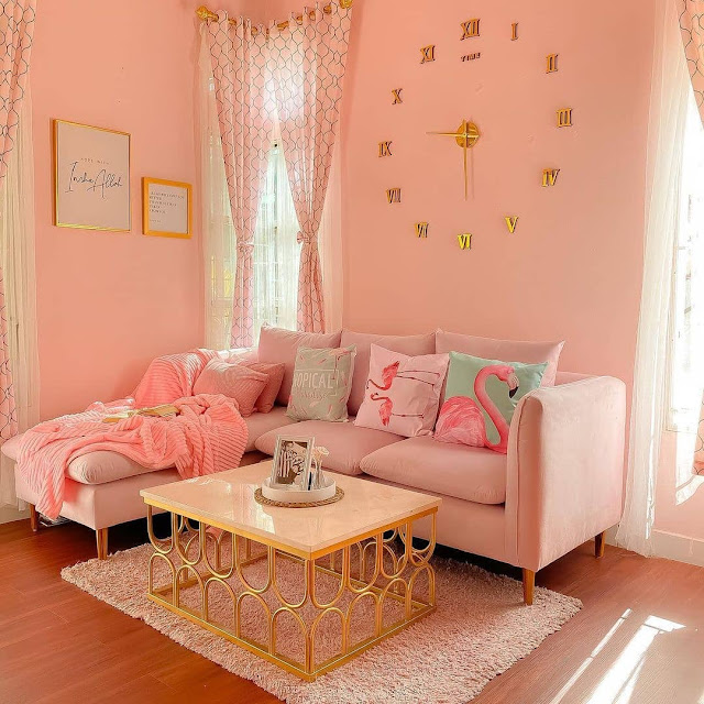 Ruang Tamu Minimalis Ukuran 3×3 Warna Pink