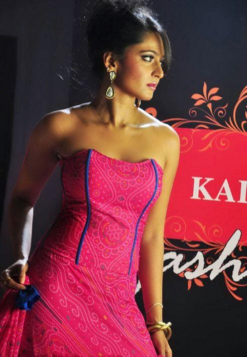Hot Anushka Shetty Cute Stills In Pink Dress