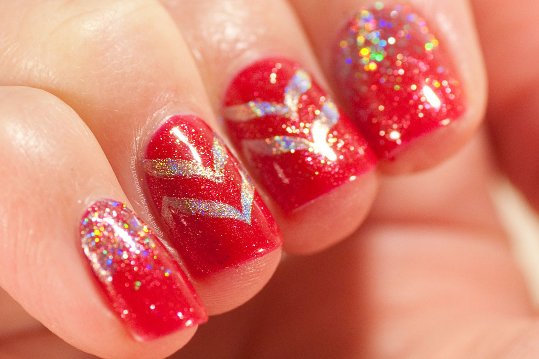 Pink Gellac Rockstar Red Nail Art Design with Chevrons and Glitter gradient