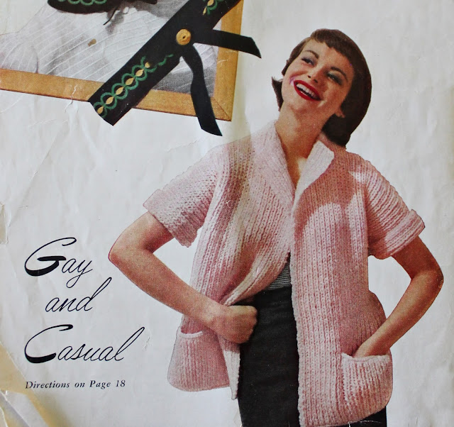 free 1950s bulky short sleeve jacket knitting pattern