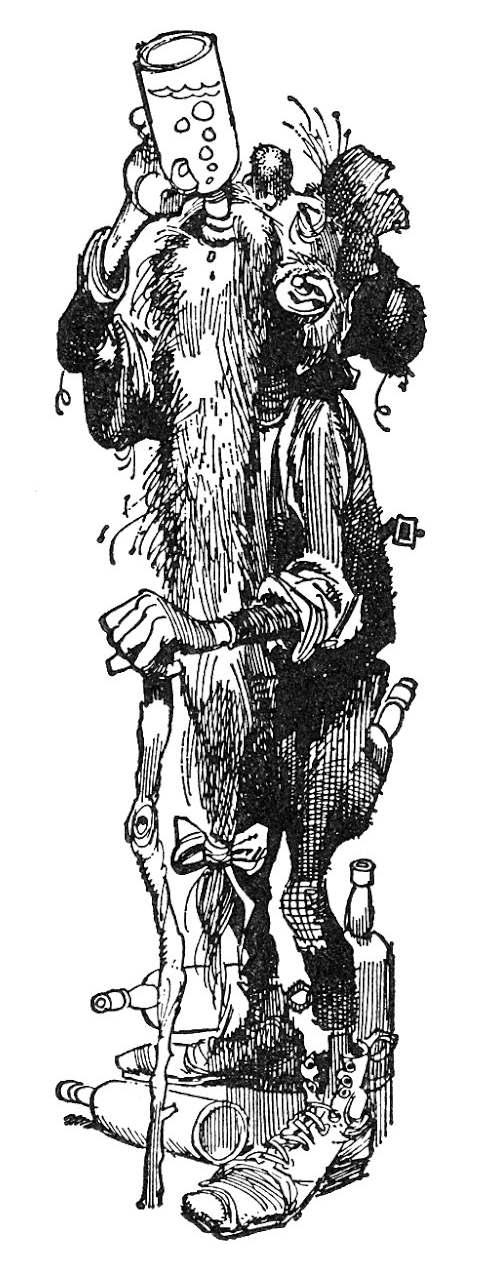 a Jack Davis cartoon of an old hillbilly drinking liqour from a bottle