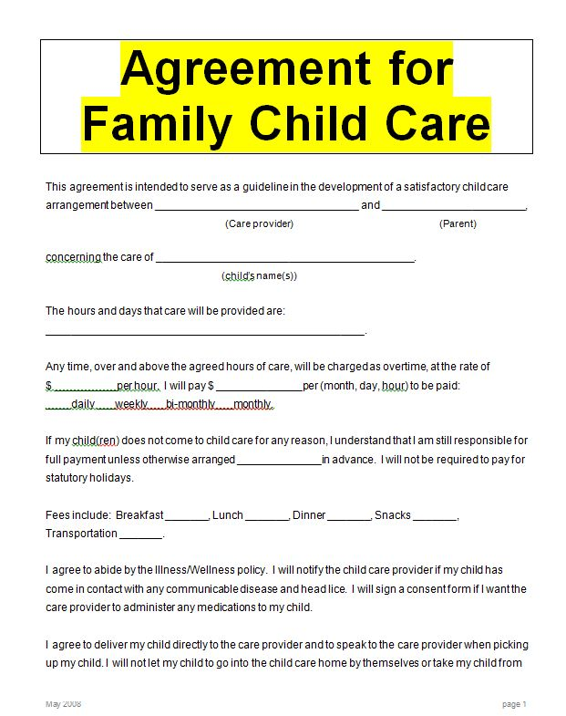 Child Care Contract Word Doc Sample Contracts Contract Templates