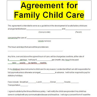 child care contract template
