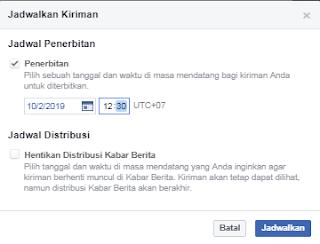 cara posting terjadwal untuk fanspage facebook