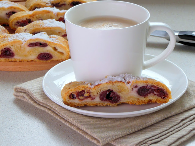 Strudel with soft cottage cheese and cherry