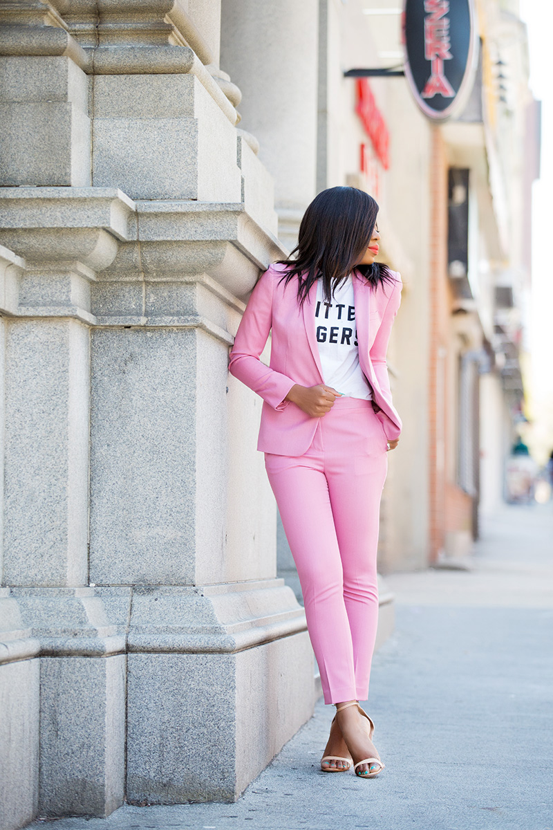 topshop pink suit, adidas superstars, schutz sandals, www.jadore-fashion.com