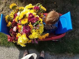 wagon full of flowers to gift