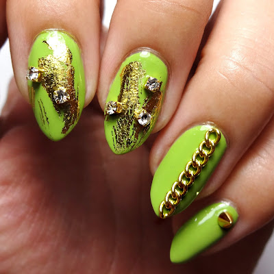 Green and Gold Glam Rock Nails