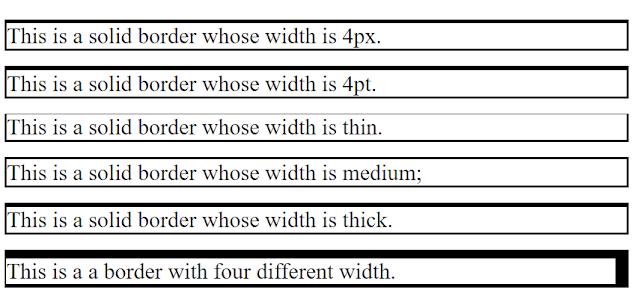 خاصية سمك الاطار The border-width Property