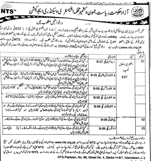 NTS Educator Jobs 2020 - (1500 Vacancies) Download Application Form