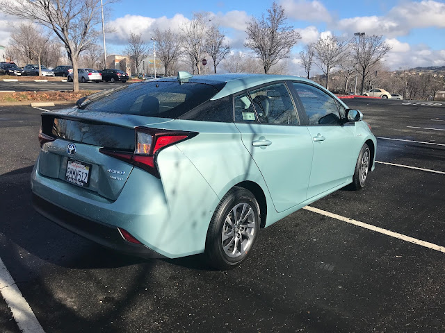 Rear 3/4 view of 2020 Toyota Prius Limited