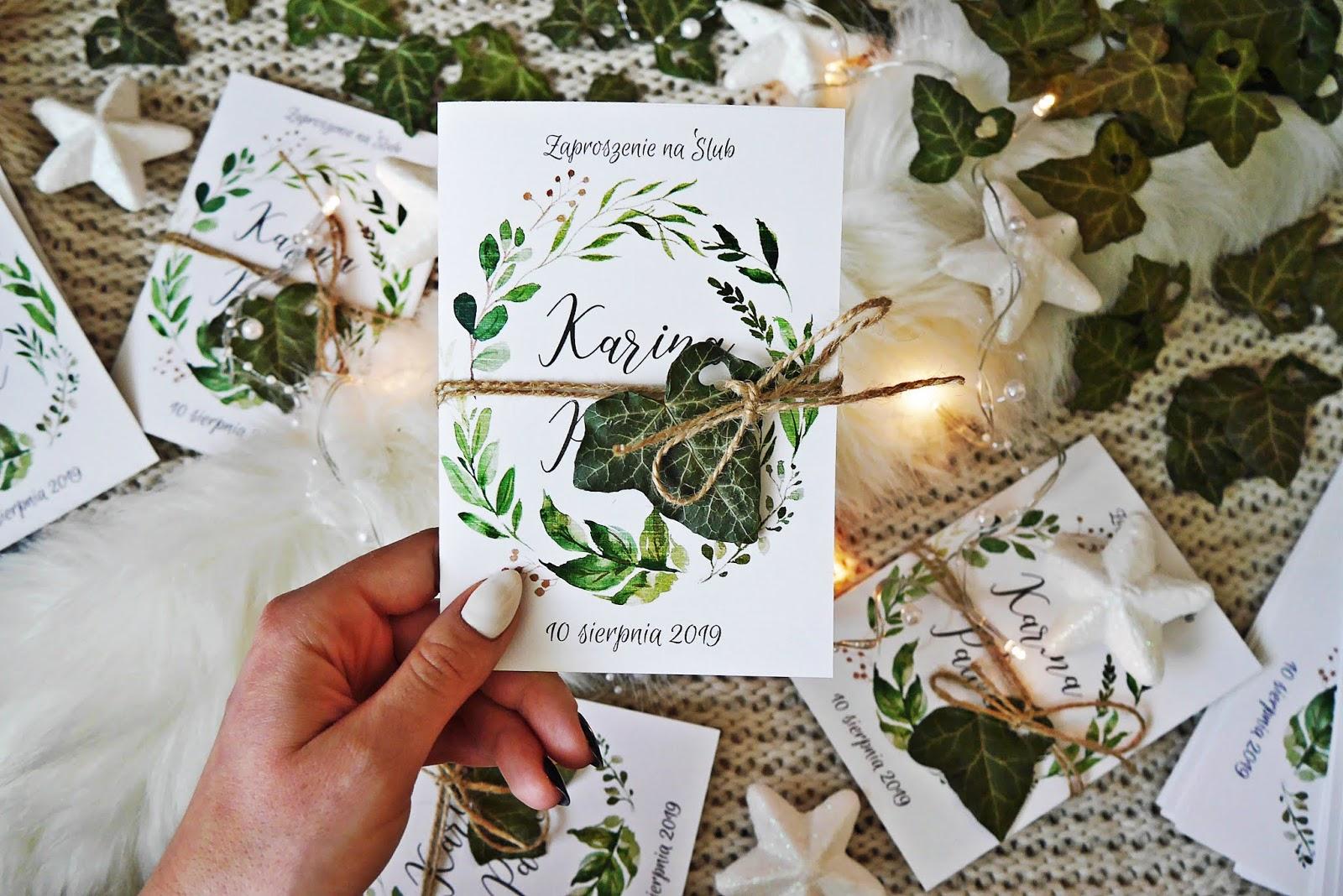 Zaproszenia ślubne DIY Karyn blog modowy rustykalne liście zielone