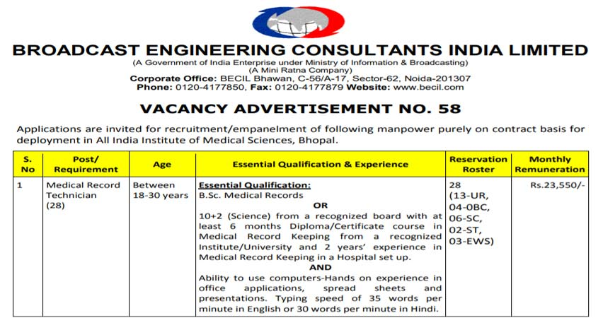 Medical Record Technician Vacancy at BECIL   Last Date 31st-May-2021